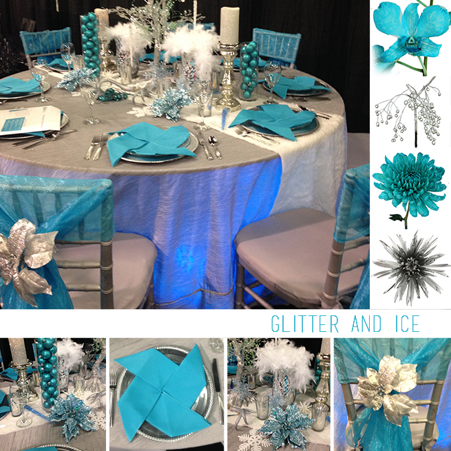 Design Inspiration Teal And Silver Centerpiece