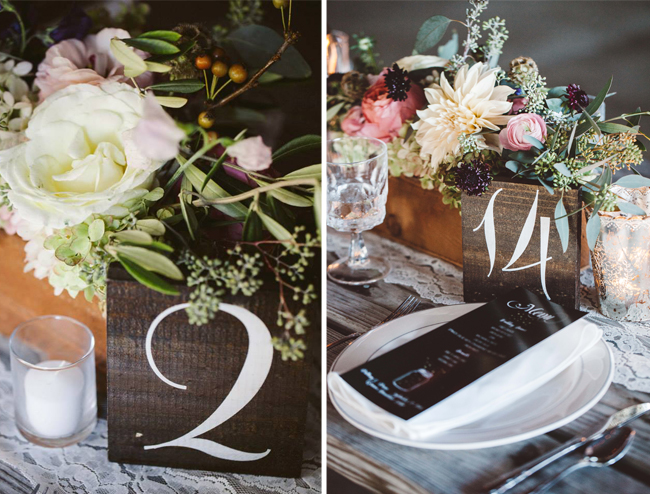 Centerpieces with Wood Table Numbers
