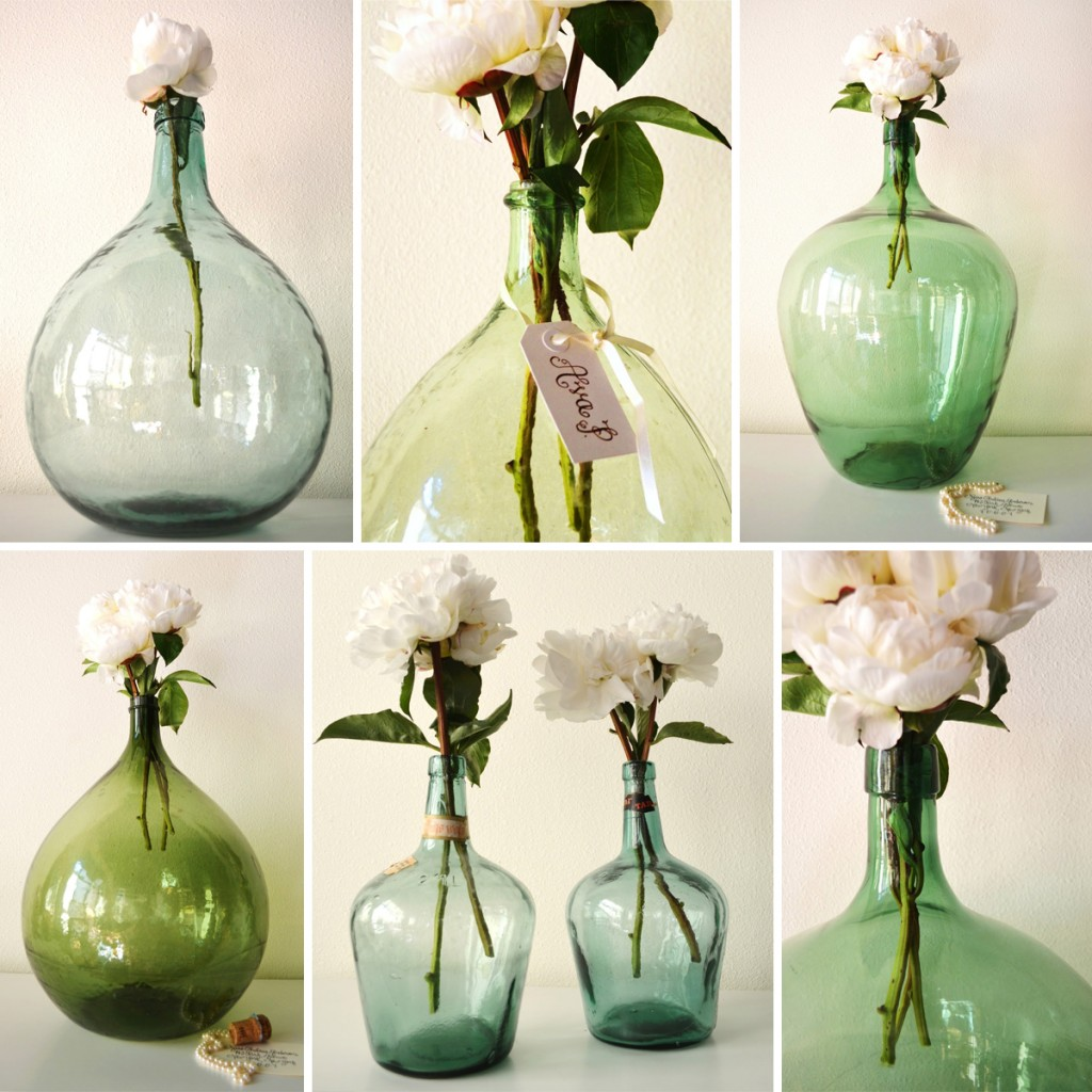 Classic Bride + FiftyFlowers = Demijohn Vase Centerpieces with Peonies!