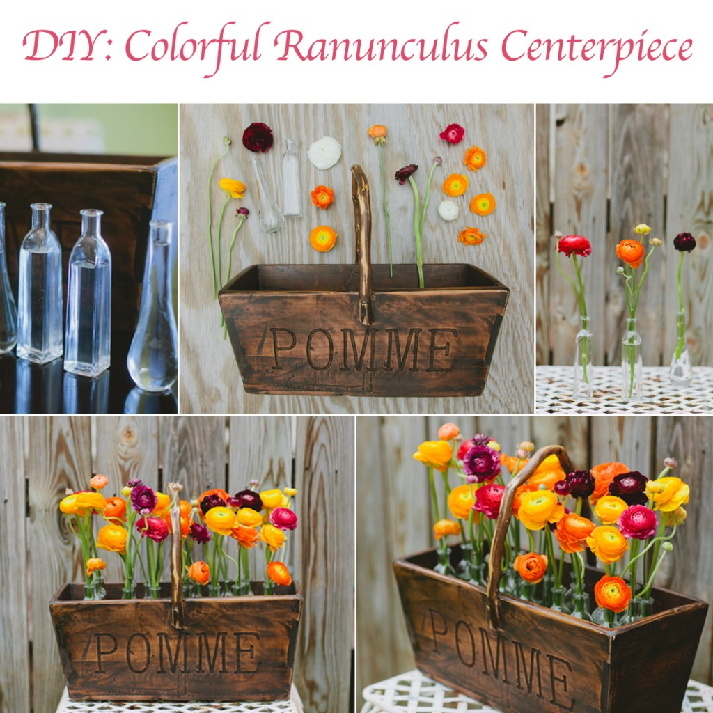 DIY Centerpiece: Colorful Ranunculus