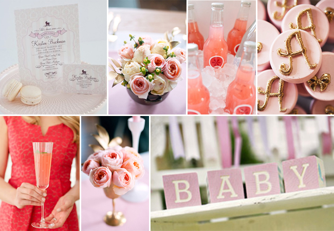 Glamorous Pink Ivory and Gold Baby Shower