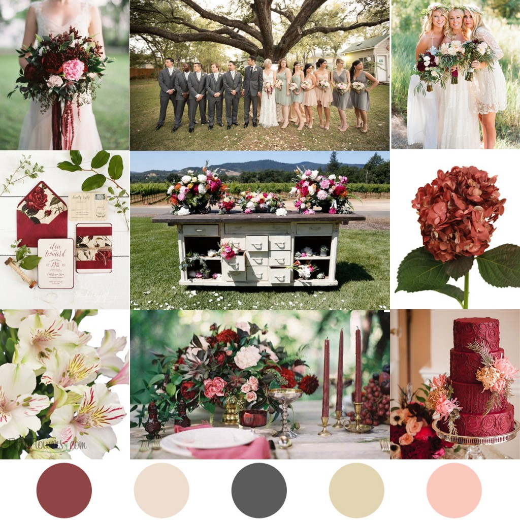Marsala, Pearl Pink and Neutral Color Palette Inspiration