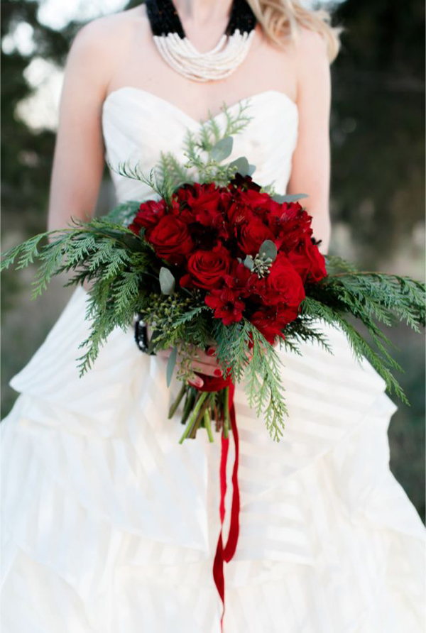 Red Roses And Fresh Cedar Bridal Bouquet