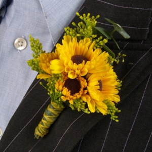 Touch of Sun Boutonniere and Corsage Wedding Package