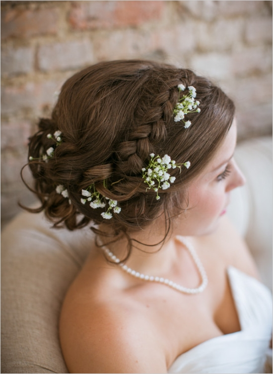 Bridal Hair Accented with Baby's Breath